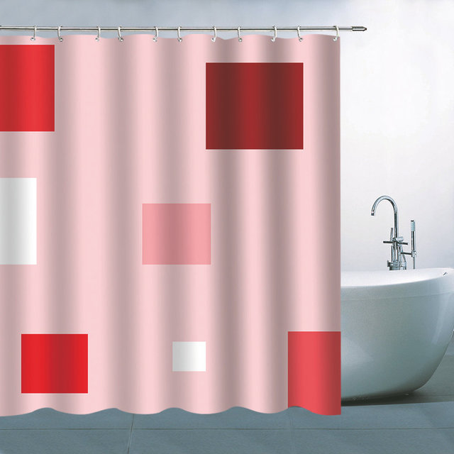 Fashion Simple Geometric Pink White Hanging Shower Curtain Waterproof Mildew Polyester Cloth