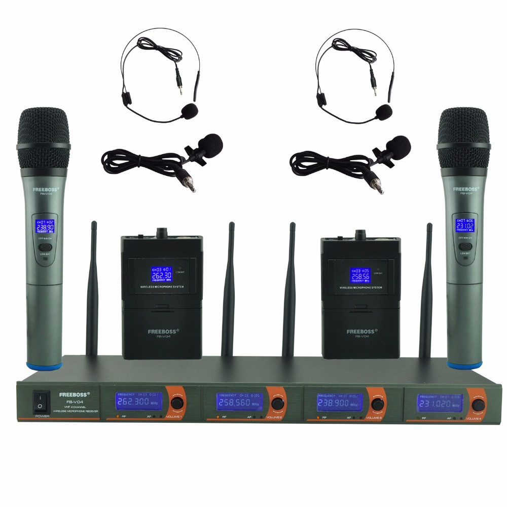 FREEBOSS FB-V04H2 Professional Microphones VHF KTV Party Mic System 2 Handheld and 2 Headset Wireless Karaoke Microphone leory professional vhf wireless microphone system dual handheld 2 x mic cordless receiver for karaoke party ktv speech meeting