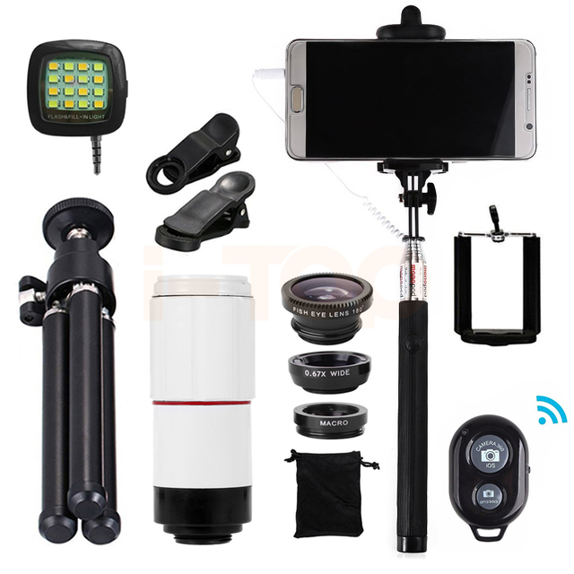 Universal Clips 8x Teleobjetivo Zoom lentes de ojo de Pez Macro Gran Angular trípode para iphone samsung s5 s6 s7 sony lente de teléfono celular