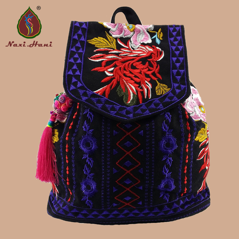 National style embroidered canvas Backpacks vintage fashion women travel Backpacks brand bags