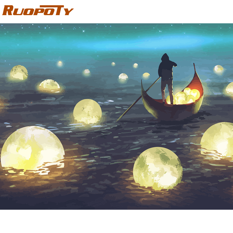 RUOPOTY Painting Numbers-Kit River-Light Acrylic-Paint Landscape Gift Canvas DIY by