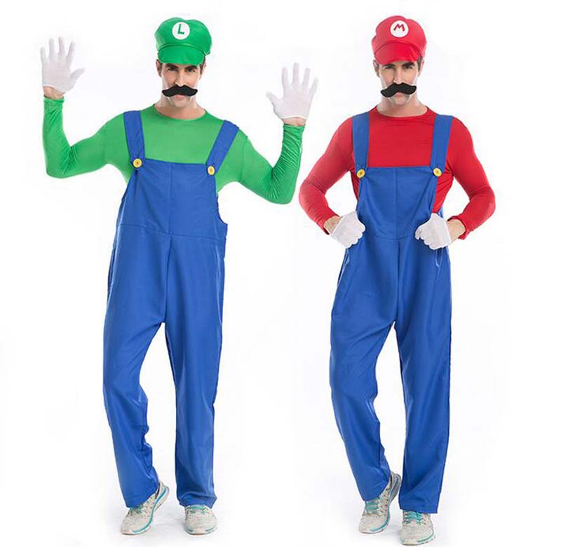 Red Green Halloween Costumes Super Mario Luigi Brothers Plumber Costume Jumpsuit Fashion Cosplay