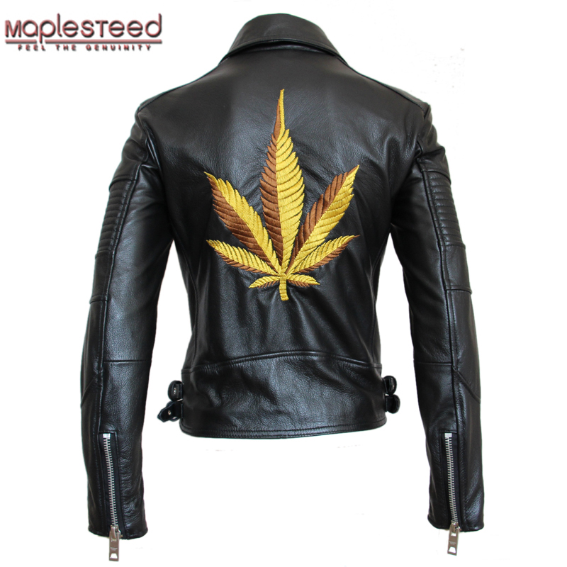MAPLESTEED Motorcycle Jacket Women Embroidery Leather Jacket Slim 100% Cowhide Jacket Moto Woman Biker Coat Lovers' Clothes M108
