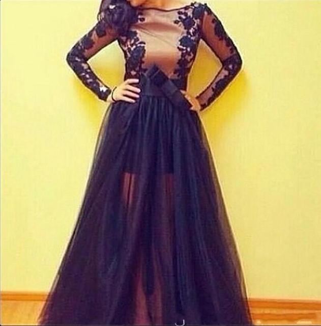 f61f078abe0 Long Sleeves Prom Dress Illusion Legs Black Lace Appliques Evening Party  Vestido Long 2017 New Year