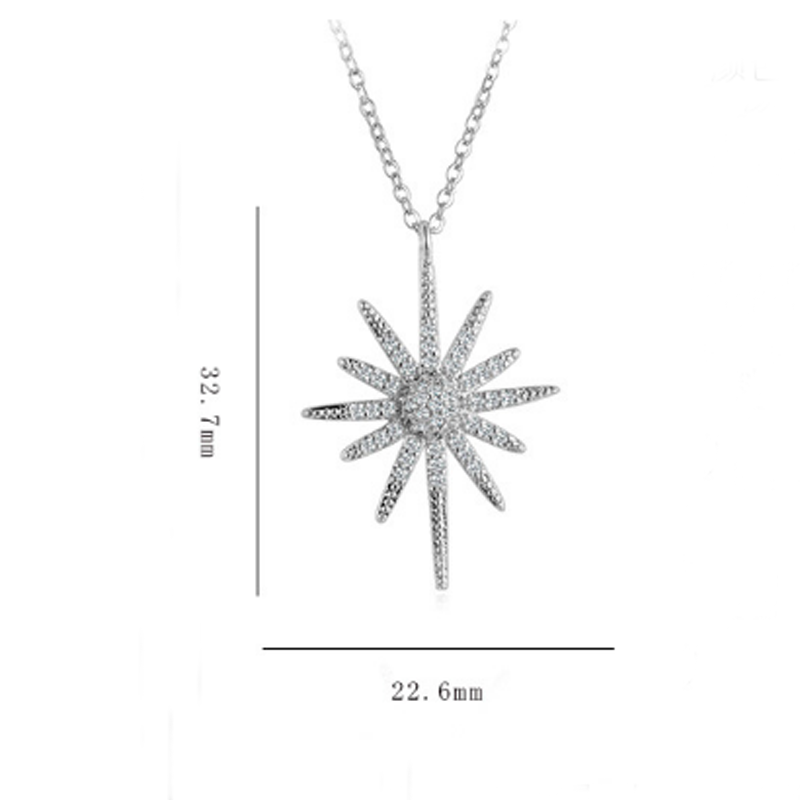 Trendy Ladies Zircon Flowers Necklaces Pendants for Women Wedding Statement Sunflower Choker Necklace Gifts Jewelry in Pendant Necklaces from Jewelry Accessories