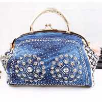2017 fashion denim women handbags designer weaving tote bag crystal diamond decorative big bag