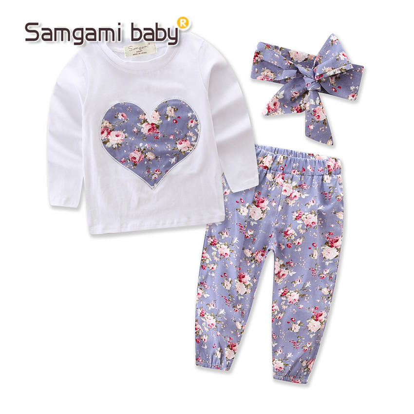 Newborn 3pcs Baby Infant Girls Clothes Tops T-Shirts Long Sleeve Outfits Flower Pants Casual Hooded Baby Girl Clothing New