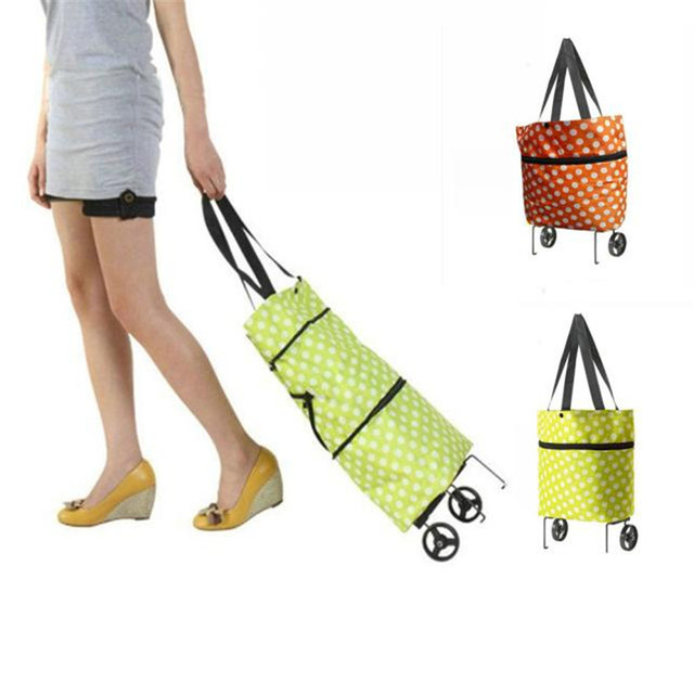 Woweino Excellent Quality Folding shopping bags trolley tote bag with wheels custom reusable shopping bolsas women handbags