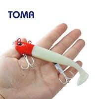 TOMA Metall Kopf Sinking Angeln Lockt Kit DIY Sea Bass Locken 21g 27g 35g 50g Leucht T Schwanz Frische Salz Wasser Jigging Weichen Köder