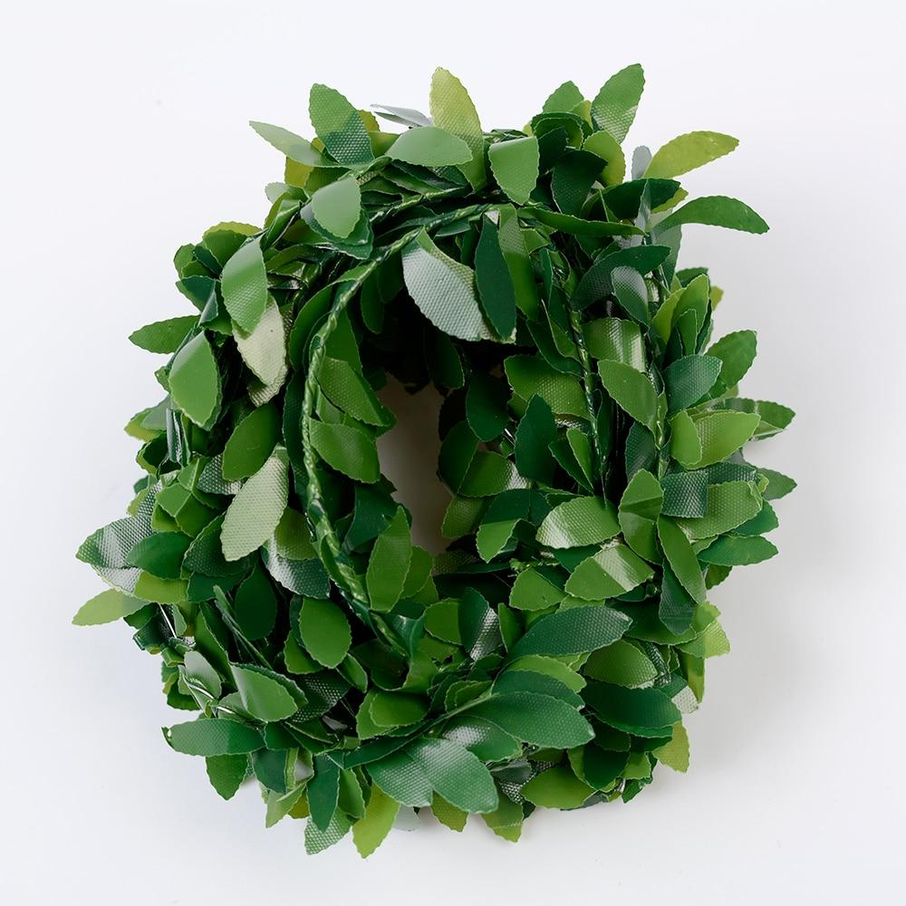 3.75 м 150 inch/pcs шелк гирлянды зеленый лист Железная проволока искусственные цветы лоза ротанга для Свадебные украшения автомобиля DIY ВЕНОК цветы