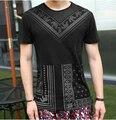 Camiseta Impresa de los hombres de Todos Los Tamaños Slim Fit Algodón Santos Muy estilo de la alta calidad de manga corta camiseta de los hombres brand clothing 2016