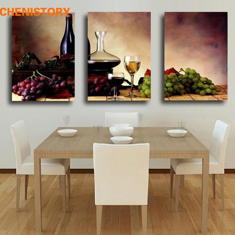 Sans cadre 3 Panneau Reto Abstraite Vin De Raisin Fruits de La Maison Millésime Impression Décoration murale Peinture Sur Toile Pour La Cuisine Mur Art image