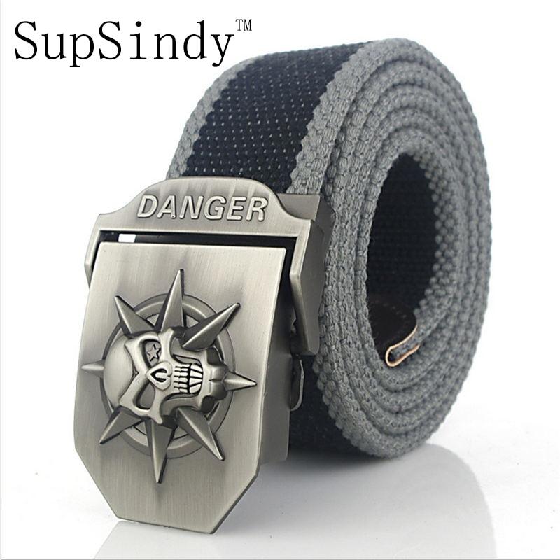 SupSindy hommes de toile ceinture Danger Crâne boucle en métal ceinture  militaire Armée tactique jeans ceintures top qualité hommes bracelet Armée  vert 7eb17d5c197