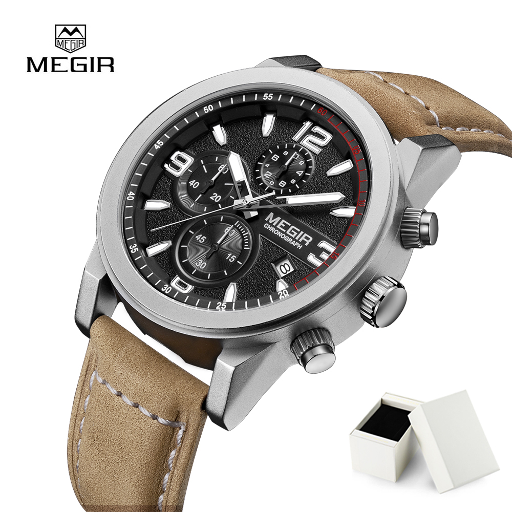 MEGIR Men Watches Quartz Chronograph Watch Waterproof Army Military Wristwatches Fashion Watches Men Clock Relogio Masculino megir men sport watch waterproof chronograph silicone strap quartz army military watches clock luxury male relogio masculino
