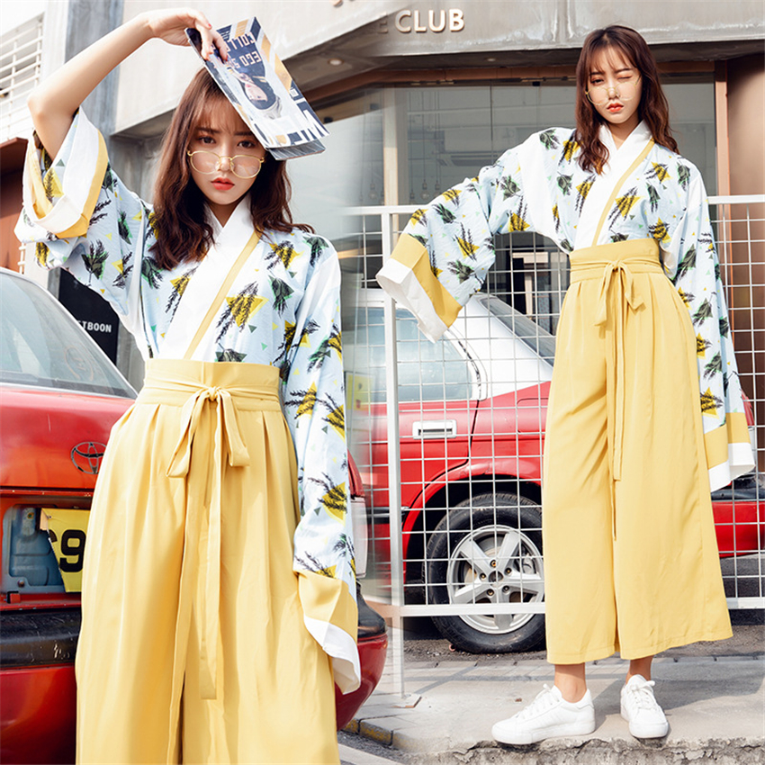 2020 Japanese Kimono For Woman Oriental Fashion Japan Clothing Set Large Long Sleeve Wide Leg Pants Party Photography Costumes