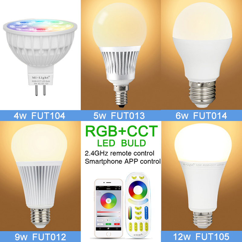 Milight Led Bulb Smart light 4W 5W 6W 9W 12W E14 E27 RGB+CCT MR16 led Lamp 12v 220V 2.4G& Wireless RF Remote Control APP Control 2 4g milight ibox1 hub rf remote wifi ler with rgb light wireless control for milight led bulbs support ios android app dc5v