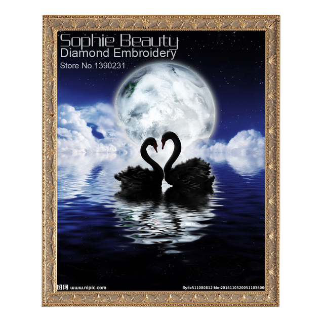Swans By Moonlight >> Diy Diamond Painting Cross Stitch Beauty Two Swans On Moon Night