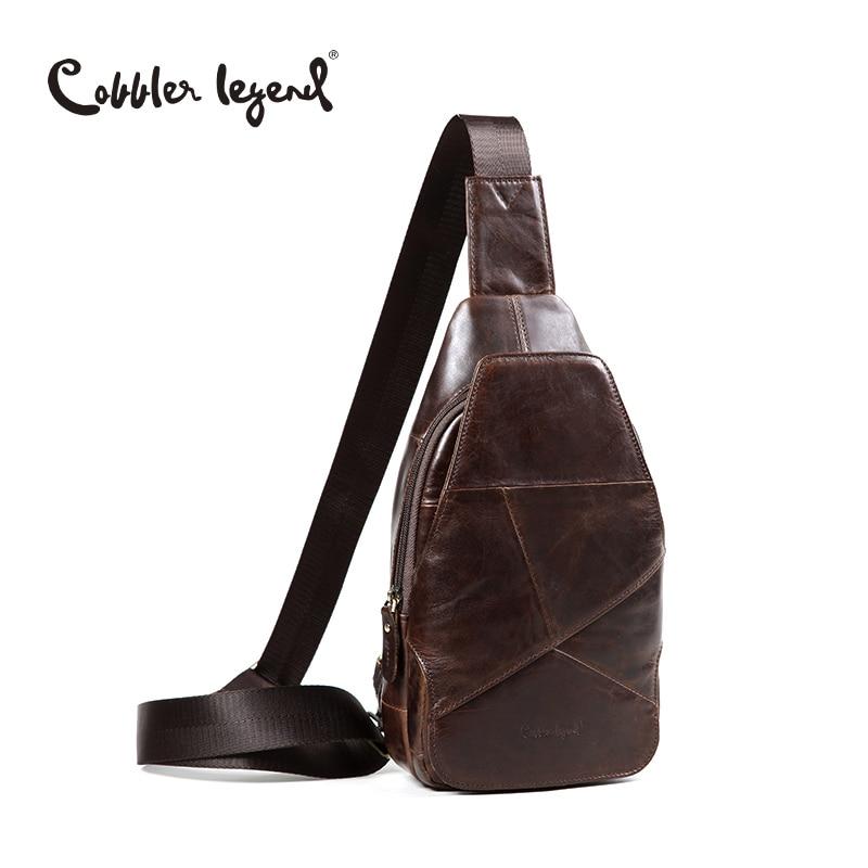 Cobbler Legend Original Design Chest Bag Men Messenger Bags Casual Mens Travel Bag Man Chest Pack Fashion Brown Genuine Leather