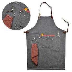 2018 Senior Denim cowboy BBQ delantal babero correas de cuero delantal de cocina para Mujeres Hombres Barbero cocinar restaurante camarera imprimir Logo