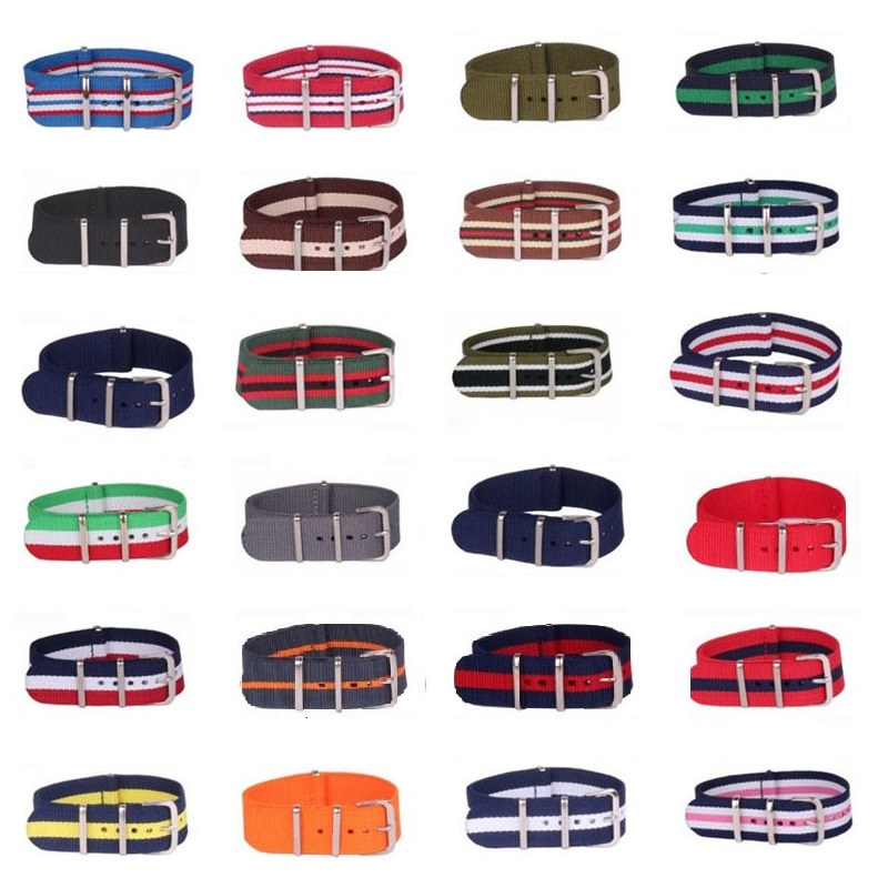 10pcs Wholesale Lot Stripe Retro 16 mm Strong Military Army nato fabric Nylon Watch Woven Strap Band Buckle belt 16mm watchbands wholesale stripe cambo solid black watch 22 mm multi color army military nato fabric nylon watchbands strap bands buckle 22mm