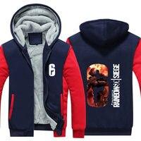 Hot Sale Rainbow Six Siege Hoodie Men's Winter Coat Casual Super Warm Jacket Fleece Zip Up Hoodie Sweatshirt Thicken USA Size