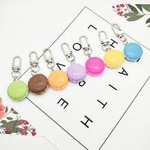 Popular Resin Macaron Key Chain 1 pair Cute Food key ring pendant  bag hanging for girl birthday gifts