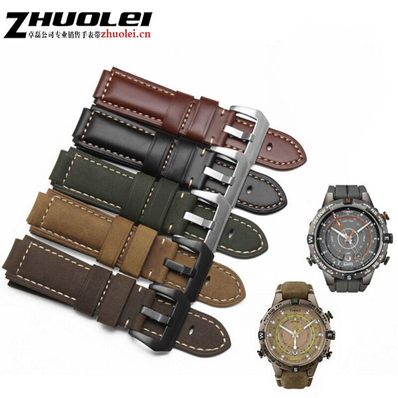 f783c809345 Qualidade pulseira de Couro Genuíno Para homens Timex T49859 ...