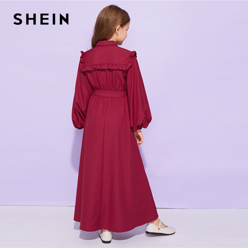 Shein Girls Burgundy Frill Trim Appliques Belted Cute Dress Shein Young Girls Collection