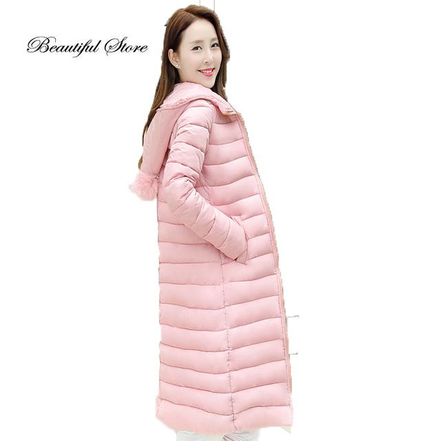 2016 moda feminina jaqueta de Inverno fino médio-longo de manga comprida com capuz slim down-algodão acolchoado casaco outerwear mais parkas tamanho