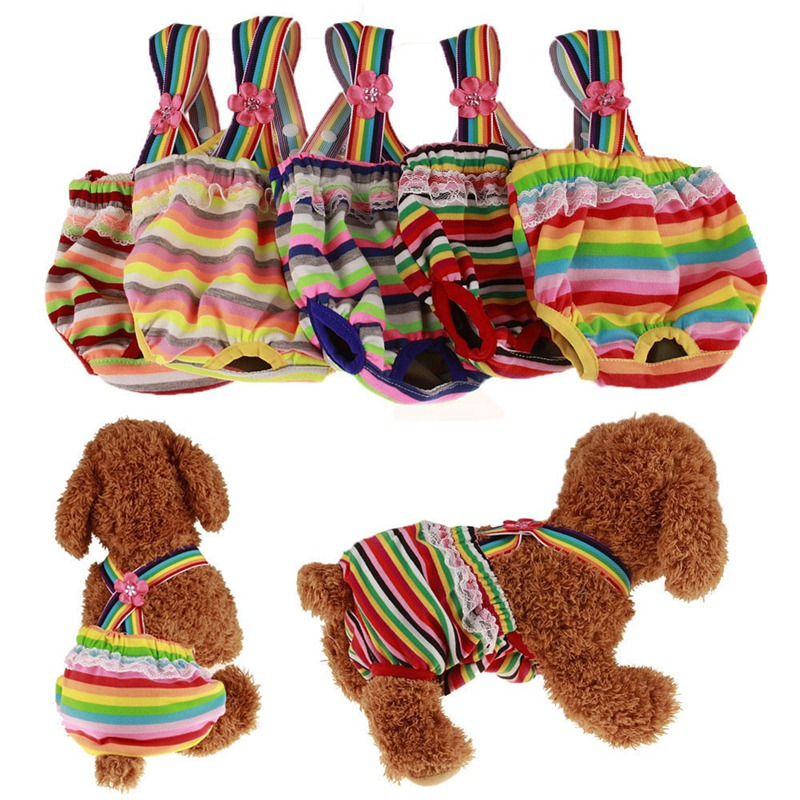 <font><b>Dog</b></font> Cotton Sanitary <font><b>Pants</b></font>, Colorful Physiological Sanitary Briefs Menstrual Suspender Nappy Diaper Underwear <font><b>Pants</b></font> For <font><b>Female</b></font> Pe image