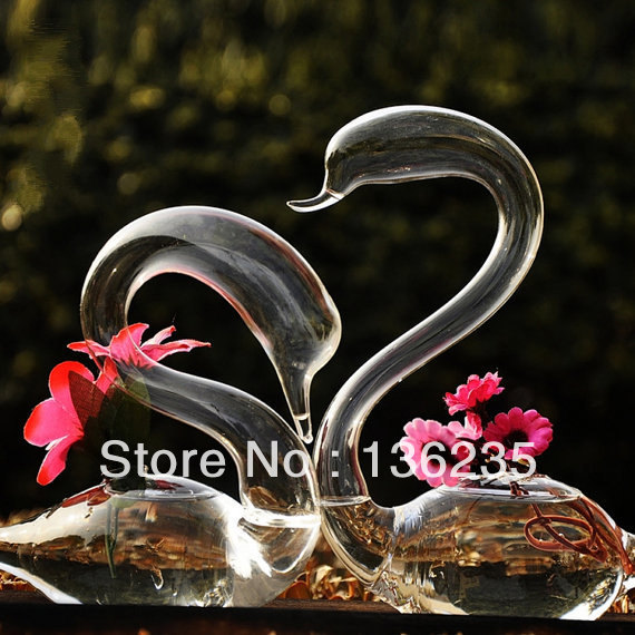1 Pair Hand Made Clear Glass Swan Sculpture Home Decor Set Of 2