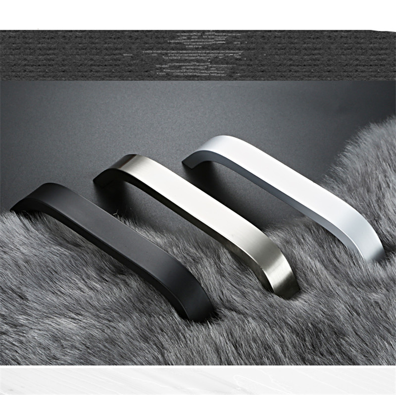5pcs Kitchen Cabinet Handles And Knobs Black White Silver Furniture Handle For Kitchen Cabinet