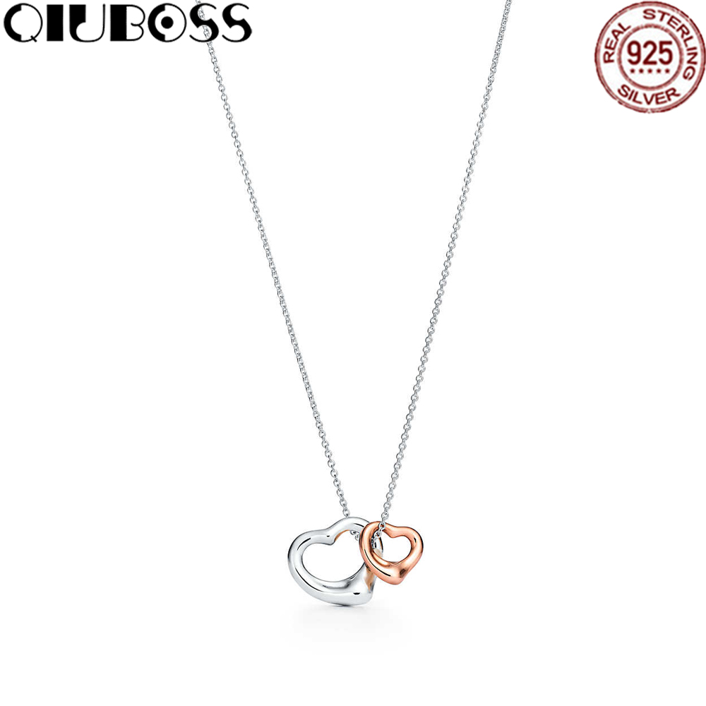 все цены на QIUBOSS TIFF 925 Sterling Silver Heart-Shaped Rose Gold Pendant Hollow Elegant Necklace DIY Gift Jewelry