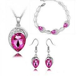 2016 offre spéciale mode coeur cristal pendentifs collier/boucles d'oreilles accessoires de mariage ensembles de bijoux pour les femmes