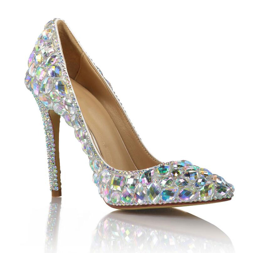 De Diamant Mariage Talons Nouveau Chaussures Élégant Fin Coloré Super Pour Et Pointu Sexy Verre Color Automne Simples Haute Printemps BTSnW1qT