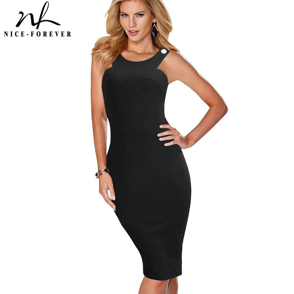 Nice-forever Vintage Sexy Blackless Club Vestidos Round Neck Party Bodycon Female Sheath Women Dress Bty567