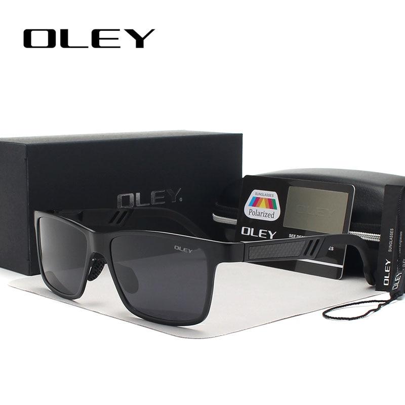 OLEY Aluminium Magnesium Sunglasses Lelaki Designer Jenama Polarized Square Sun Glasses UV400 melindungi Memandu kacamata Y5459