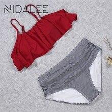 NIDALEE Women Ruffle Vintage Bikini Set Swimsuit Brazilian Plus Size Push Up Bikinis Bandage Striped Bottom Bathing Suits