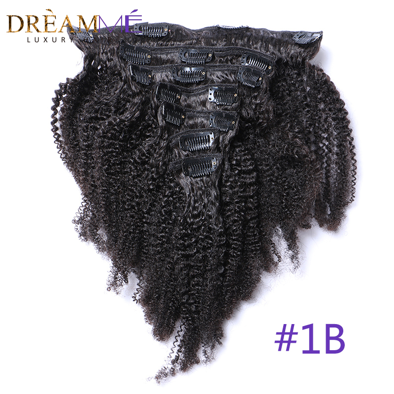 Brazilian Afro Kinky Curly Clip In Human Hair Extensions 8 Pcs/Set Clips In Natural Color 4B 4C Pattern Machine Made Remy Hair
