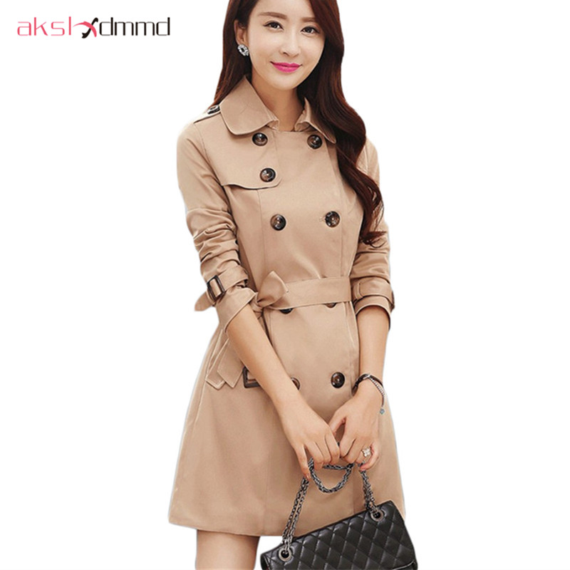 AKSLXDMMD Double Breasted Md-long Trench Coat Women 2019 New Fashion - Women's Clothing