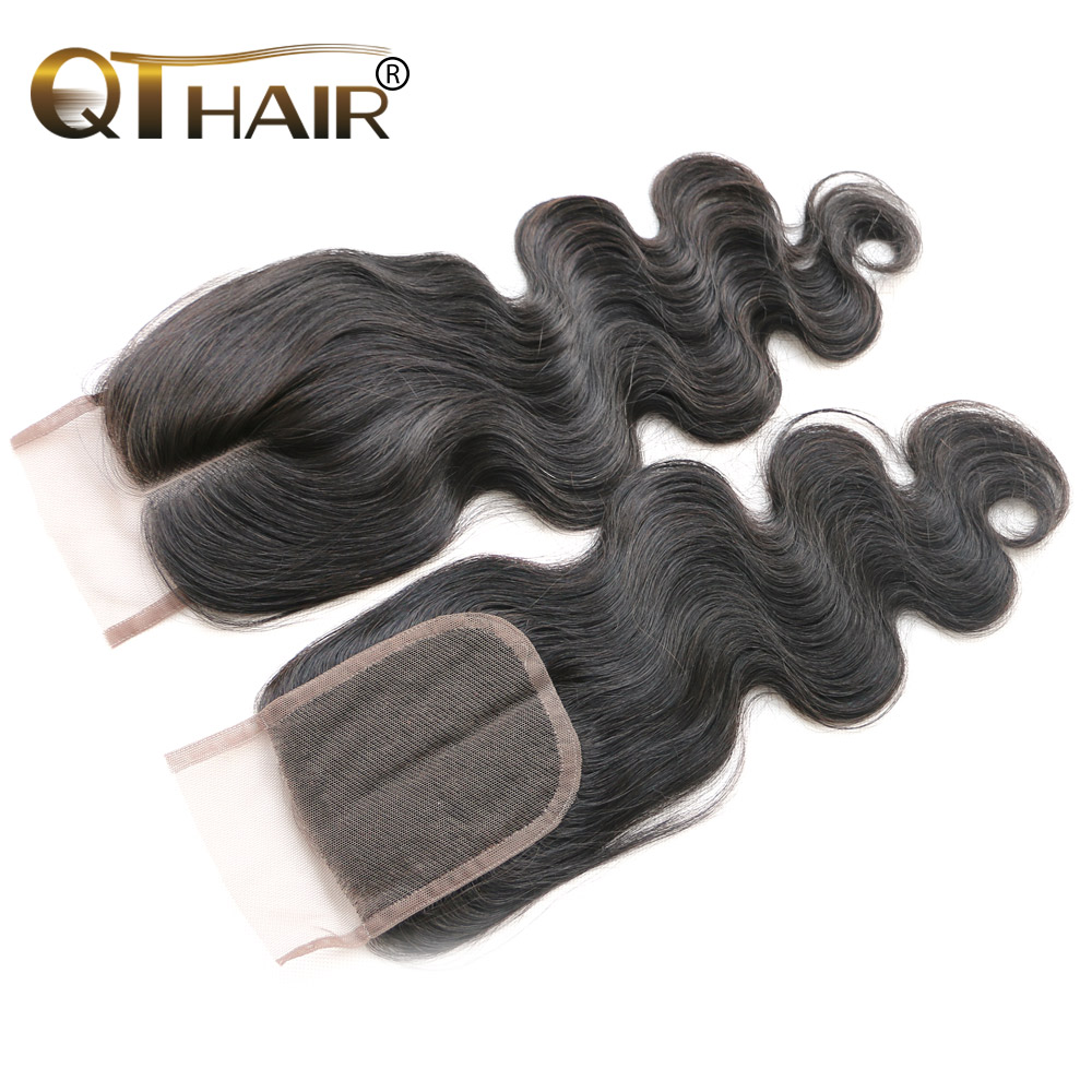 Brazilian Body Wave Lace Top Closure 4*4 Bleached Knots Human Hair Lace Wigs 100% Unprocessed Brazilian Closure Free Shipping