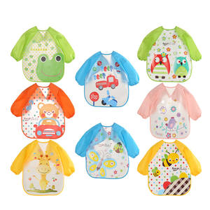 Cute Baby Waterproof Long Sleeve Apron Children Feeding Smock Bib Burp Clothes Soft Eat Toddler Baberos Bavoir Clothing