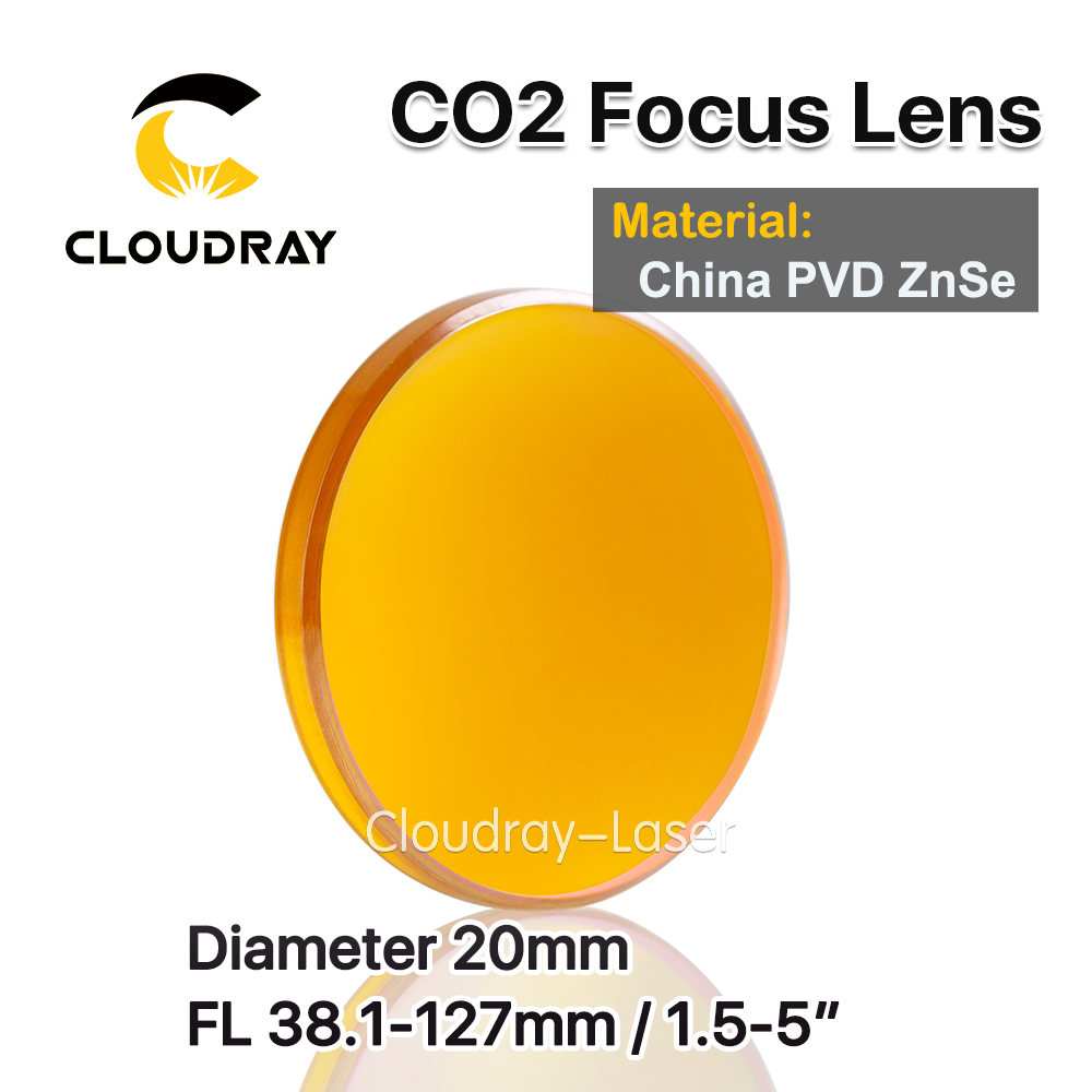 Cloudray China ZnSe Focus Lens Dia. 20mm FL 38.1-127mm 2.5