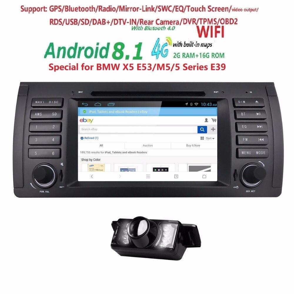 Fou Ventes Quad Core Android 8.1 2 GB + 16G Unique 1 Din Voiture Stéréo Lecteur DVD pour BMW e39 bmw x5 e53 GPS Navigation USB 4 3GWIFI BT