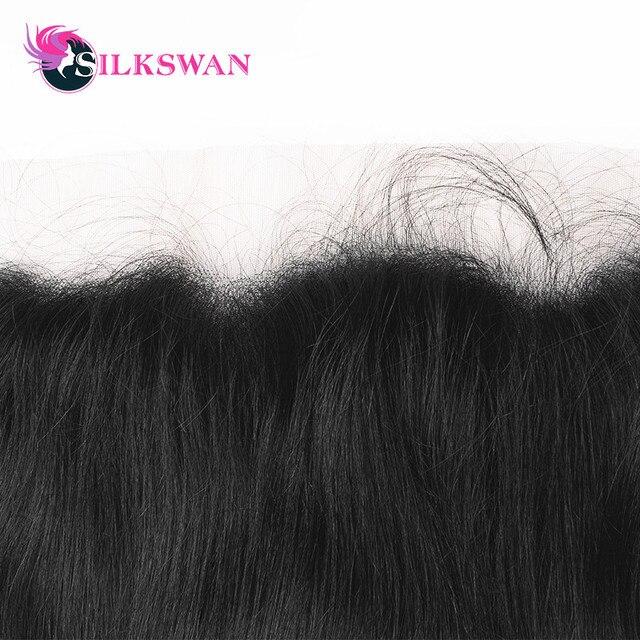 Silkswan recto 13*6 Frontal de encaje transparente Frontal con pelo de bebé proporción media pelo Remy pre-arrancado de oreja a oreja cierre