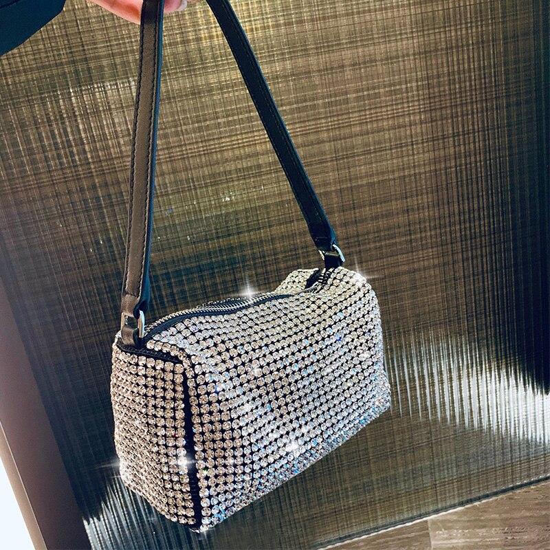 Women Day Clutches Bag Metallic Diamonds Handbag 2019 New Fashion PU Leather Female Ladies Tote Evening