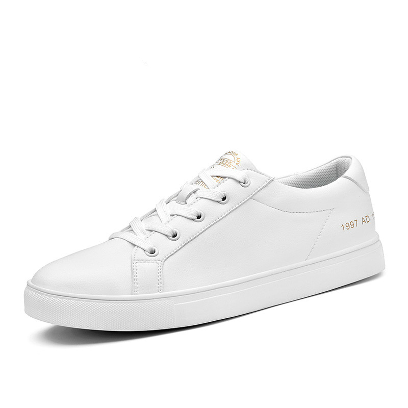 SUROM Mens Autumn Winter Sneakers Fashion Board Shoes Super Fiber Leather Krasovki White Color Brand Casual Shoes Laces Flats