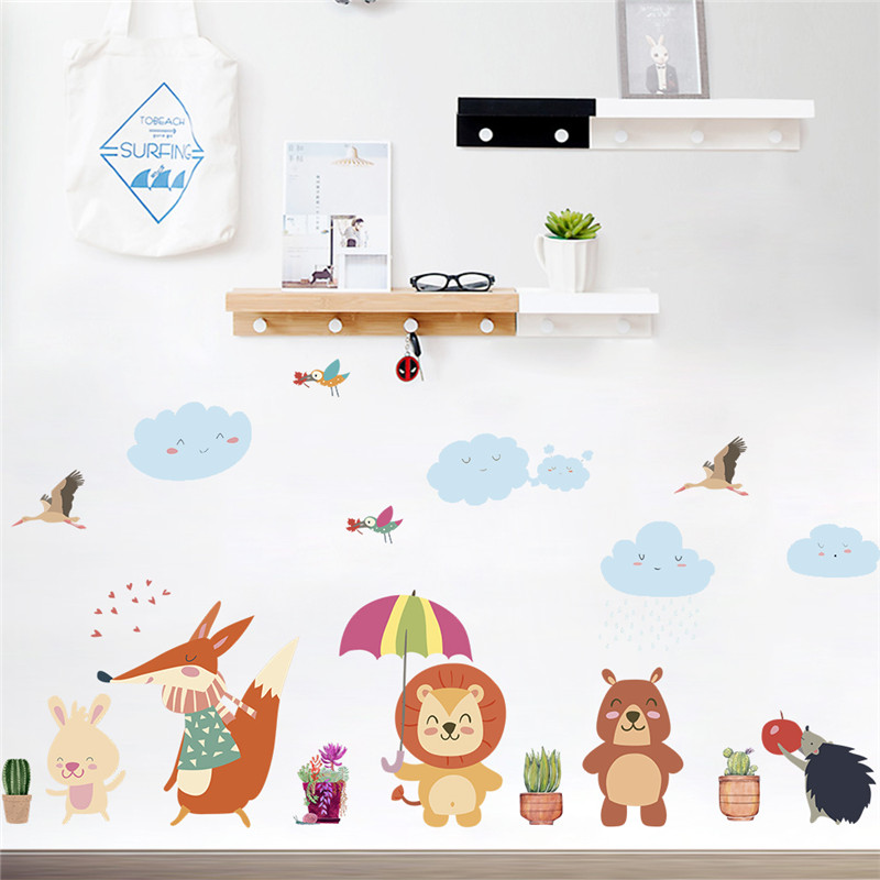 Forest nimals fox lion bear bird umbrella tree wall stickers for kids rooms home decor cartoon animals stickers art diy poster