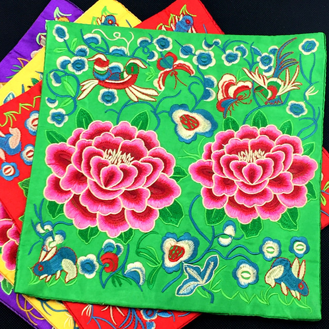Embroidery Peony Flower Modern Decorative Placemats For Table Mats Chinese Silk Fabric Protection Dining Pads Mouse