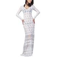 Spring Women Evening Party Dresses White Lace Full Sleeve Mesh Long Crochet Dress Vestidos De Festa
